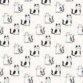 vector seamless pattern with striped cats.