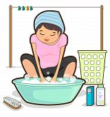 picture of wash-basin  - Women are washing by hand and basin - JPG