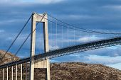 Typical Automobile Cable-stayed Bridge. Rorvik Town, Norway