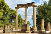 pic of ionic  - Greece Olympia ancient ruins of the important Philippeion in Olympia birthplace of the olympic games  - JPG