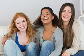 picture of slumber party  - Portrait of cheerful young female friends sitting on sofa at home - JPG