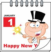 foto of new years baby  - Happy New Year Calendar With New Year Baby Cartoon Character - JPG