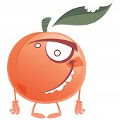 foto of crazy face  - Crazy cartoon pink and orange peach fruit character with green bitten leaf making a face - JPG