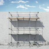 picture of scaffolding  - scaffold on wall in front of sky   - JPG