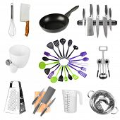 stock photo of food preparation tools equipment  - Kitchen tools collection isolated on white - JPG