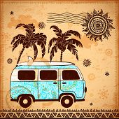 picture of tribal  - Retro Travel bus with vintage background for your business - JPG