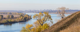 stock photo of kama  - autumn landscape on the river Kama Russia - JPG