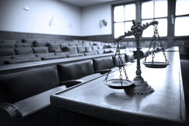 picture of jury  - Symbol of law and justice in the empty courtroom law and justice concept blue tone - JPG