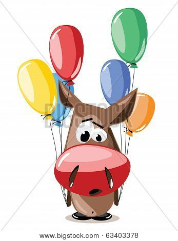 vector donkey with balloons