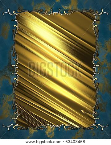 Beautiful Gold Nameplate With Gold Trim On Blue Background