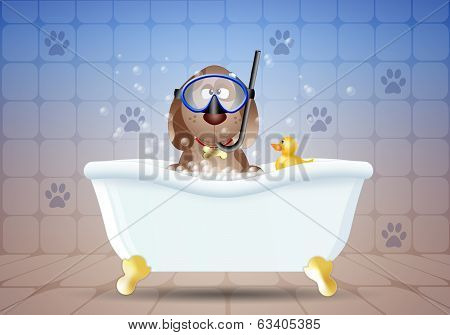 Dog with diving mask