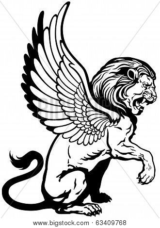 Sitting Winged Lion Black White