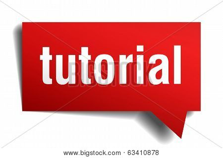Tutorial Red 3D Realistic Paper Speech Bubble Isolated On White