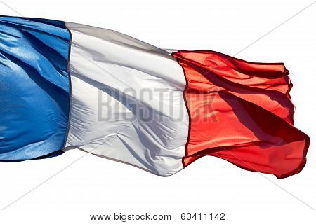 French Flag In The Wind On A White Background