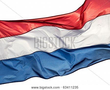 Holland Flag Against On White Backgrond