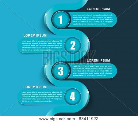 Vector blue four steps background concept with 1234 numbers and place for content. Can be used for brochure, flyer or poster.