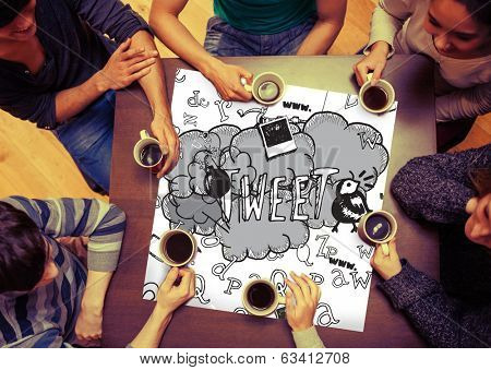 Composite image of tweet doodles on page with people sitting around table drinking coffee