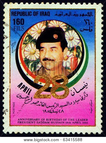 IRAQ - CIRCA 1984:  Stamp printed in Iraq shows Saddam Hussein, circa 1984