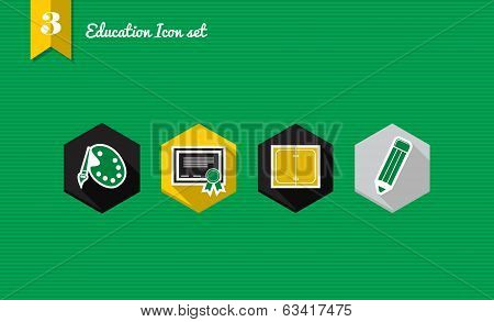 Back To School Flat Icons Set Collection