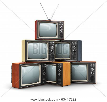 Stack of old TV