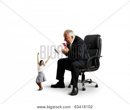 glad woman and angry screaming man. isolated on white background
