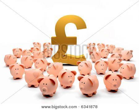 Golden Pound Symbol And Piggybanks