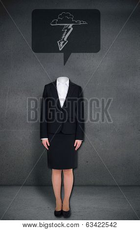 Composite image of headless businesswoman with lightning in speech bubble in grey room