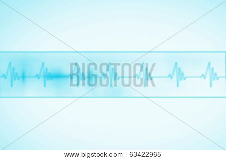 Digitally generated medical background with blue ecg line