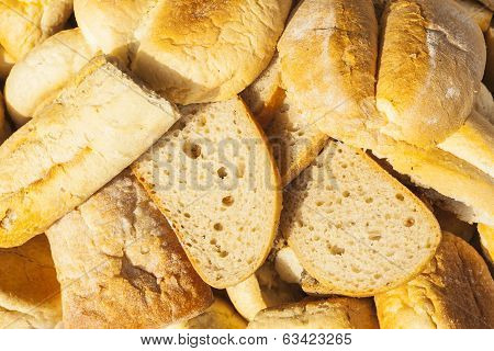 Slices of bread and baked goods.