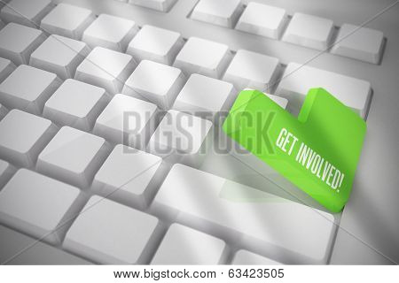 The word get involved on white keyboard with green key