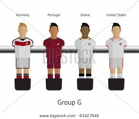 Table football, soccer players. Group G - Germany, Portugal, Ghana, United States