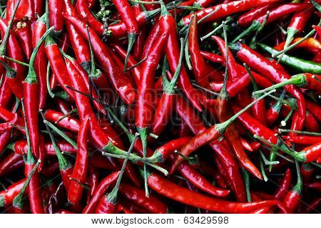 the picture shows a pile of small and spicy chili