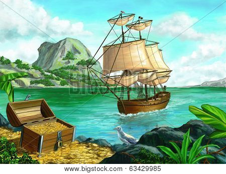 Pirate's treasure on a tropical island. Original digital painting.