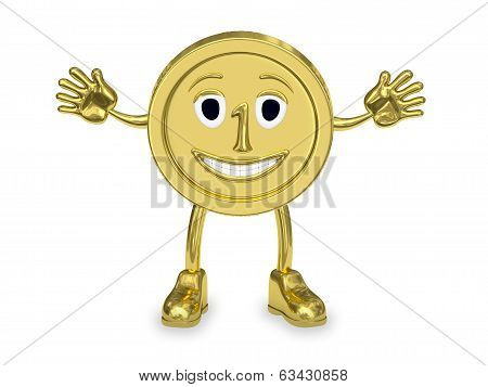 Golden Coin Represented As A Cartoon Character