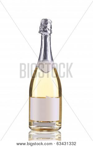Bottle of champagne with silver top.