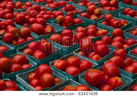 Cartons of bright red Tomatoes on display at farmers market