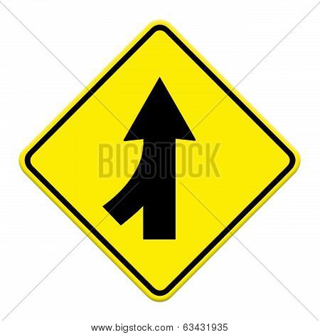 Traffic Sign Lanes Merging Left Isolated