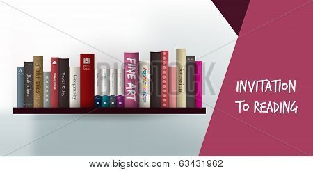 Invitation to reading card. Library design template. Modern exclusve paper card.
