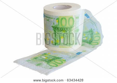 Banknotes 100 Euro Printed On The Toilet Paper Roll