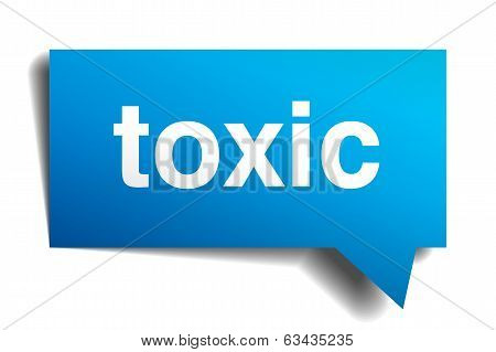 Toxic Blue 3D Realistic Paper Speech Bubble Isolated On White