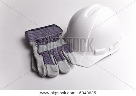 centered hard hat leather gloves