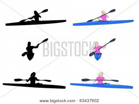 woman kayaking silhouettes and illustration