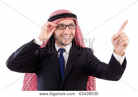 Arab man in specs pressing virtual buttons isolated on white