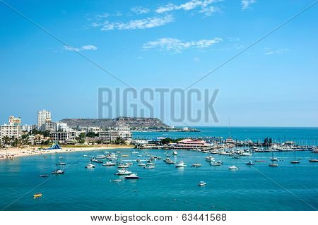 Beach With Apartment Buildings And Yacht Club In Ecuador