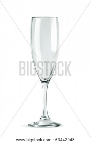 Champagne glass, empty, classic form, vector illustration isolated on a white background