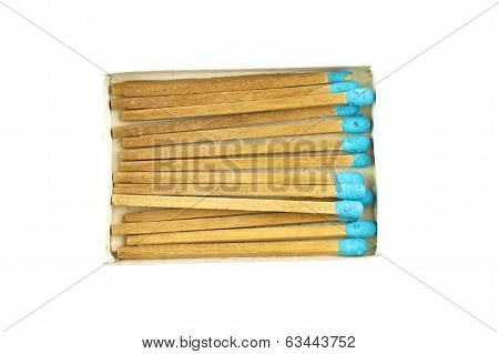 Blue Matchstick In Old Box Isolated