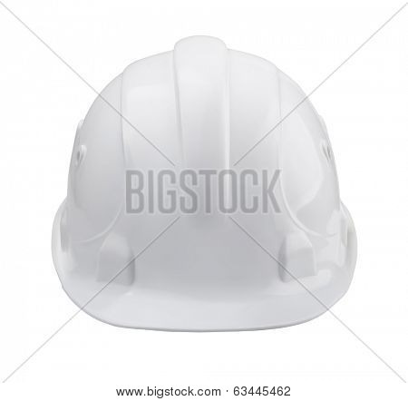 White hard hat - front view isolated on white