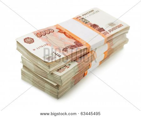 Stack of 5000 rubles packs isolated on white