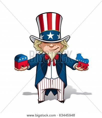 Uncle Sam Republican N Democratic
