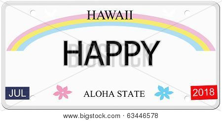 Happy Hawaii License Plate